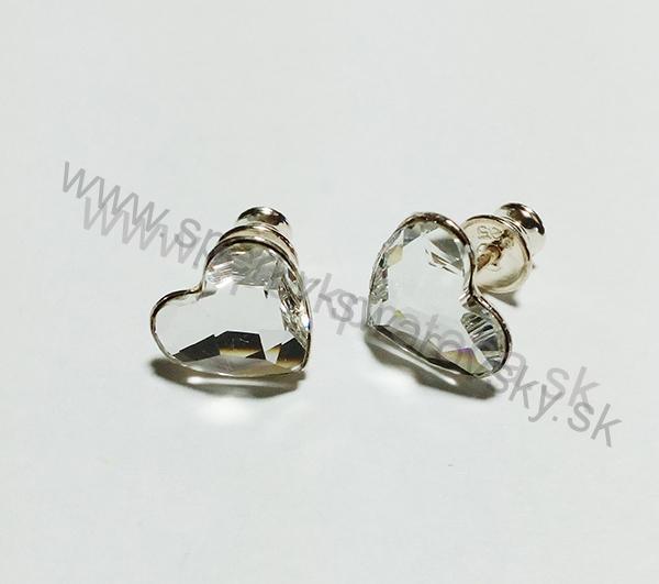 Swarovski napichovacie náušnice srdiečko bielej farby Crystal 7f8e9d1aac1