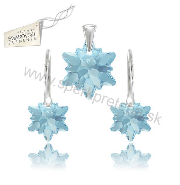 Swarovski set alpský kvet Edelweis modrej farby Aquamarine 1b648d3ec04