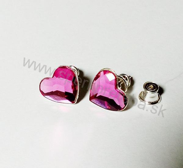 Swarovski napichovacie náušnice srdiečko ružovej farby Fuchsia c8c001303d1