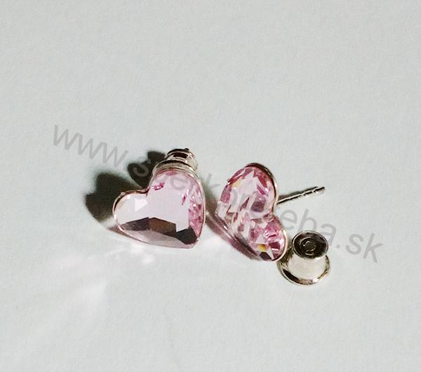 Swarovski napichovacie náušnice srdiečko ružovej farby Rosaline 7965ba68876