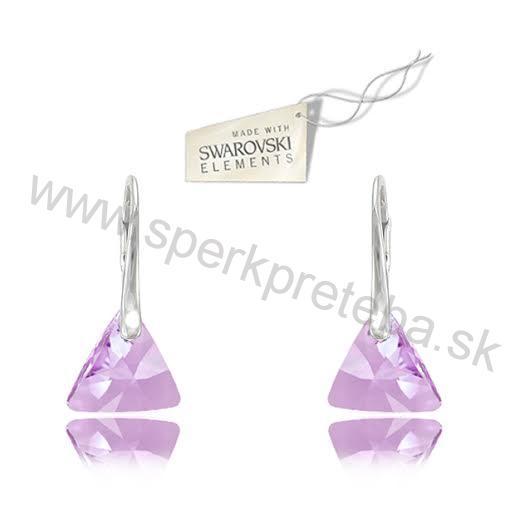 c5f624b7a Swarovski náušnice trojuholník triangle 12mm fialovej farby Crystal Violet