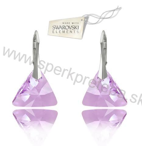 8b0b69ab5 Swarovski náušnice trojuholník triangle fialovej farby Crystal Violet