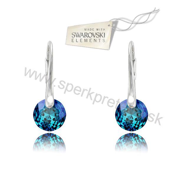 Swarovski náušnice Classic Cut modrej farby Crystal Bermuda Blue e85126b9756