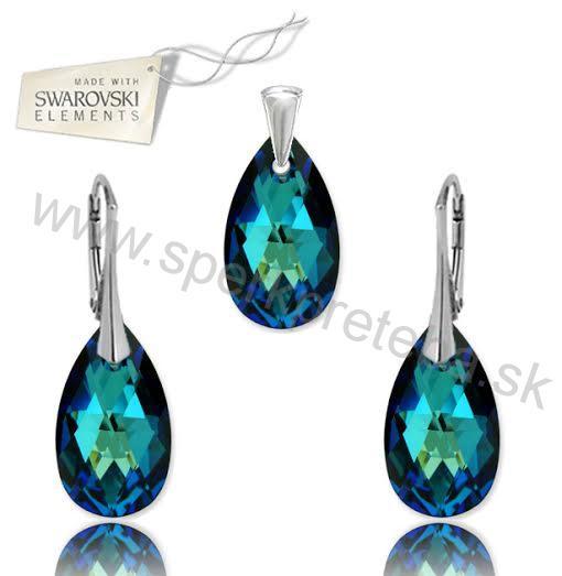 Swarovski set Slza 22mm modrej farby Crystal Bermuda Blue b53226aef18