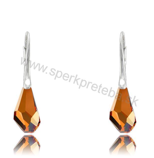 Strieborné náušnice Polygon Crystal Copper  957b94a1130