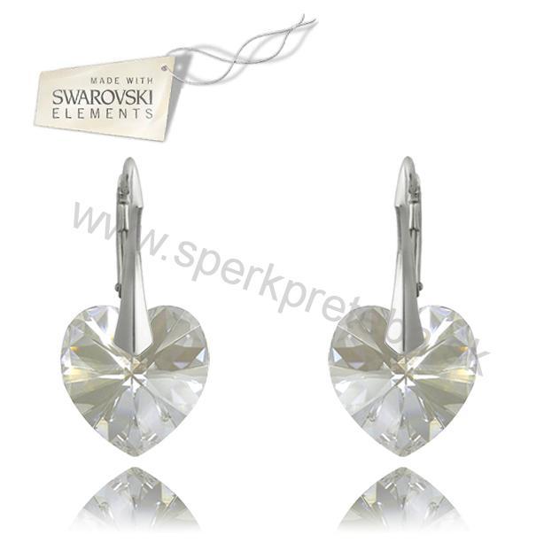 Swarovski náušnice srdce bielej farby Crystal Moonlight 4fb0edf6a7c