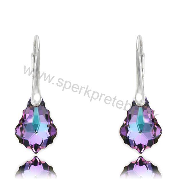 Swarovski Barok náušnice fialovoružovej farby Crystal Vitrail Light 5a914cc81c6