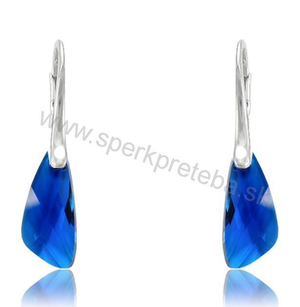 Swarovski náušnice WING PENDANT modrej farby Capri Blue 28d2172398b