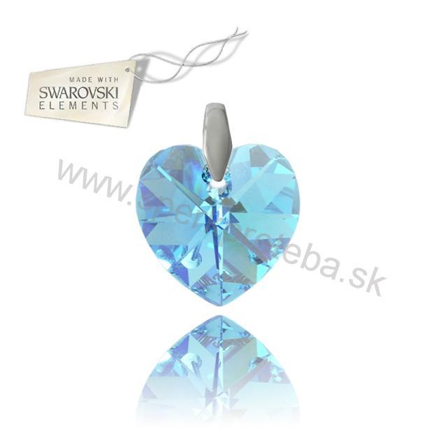 Strieborný prívesok srdce Aquamarine AB 6fef66762d0