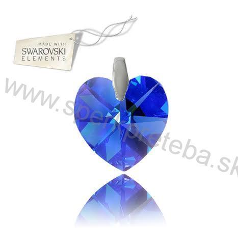 Strieborný prívesok srdce Sapphire AB d0df0c8215b