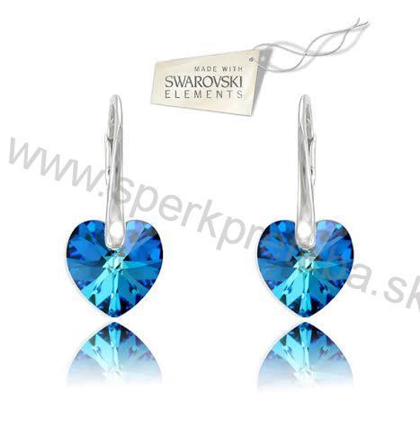 Swarovski náušnice srdiečko 10mm modrej farby Crystal Bermuda Blue 9ca8faf36b4