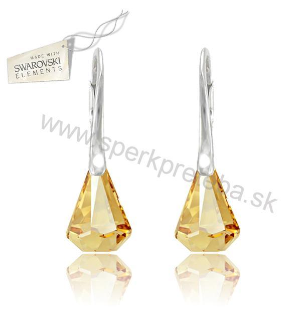 Swarovski náušnice kvapka dažďa Raindrop Crystal Golden Shadow 5518aedca1d