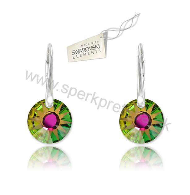 Swarovski náušnice slnko zelenej farby Crystal Vitrail Medium 0593308a45c