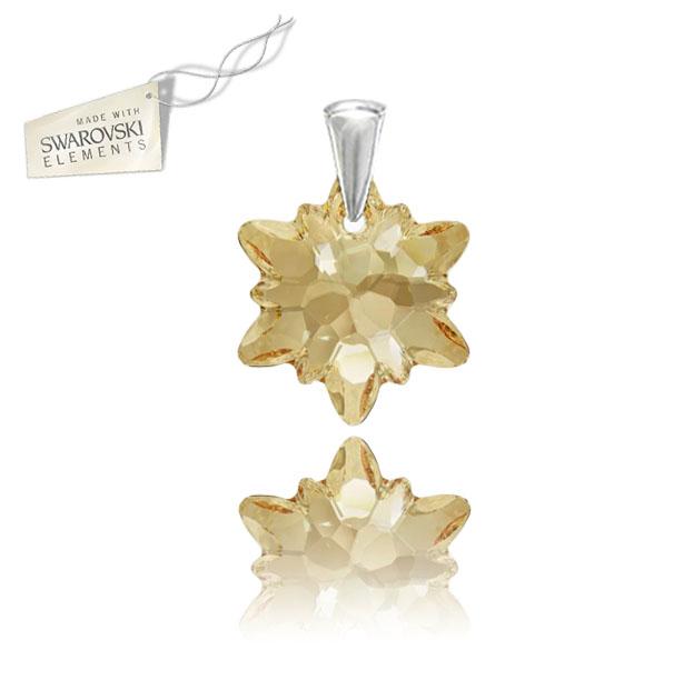 Swarovski prívesok alpský kvet Edelweis šampanskej farby Crystal Golden  Shadow empty 0c22fb27dc6